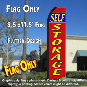 Self Storage (Red/Yellow) Windless Polyknit Feather Flag (3 x 11.5 feet)