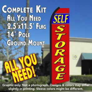 Self Storage (Red/Yellow) Windless Feather Banner Flag Kit (Flag, Pole, & Ground Mt)