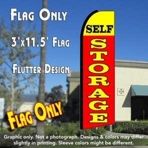 SELF STORAGE (Yellow/Red) Flutter Feather Banner Flag (11.5 x 3 Feet)