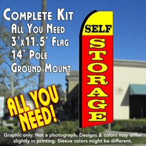 SELF STORAGE (Yellow/Red) Flutter Feather Banner Flag Kit (Flag, Pole, & Ground Mt)
