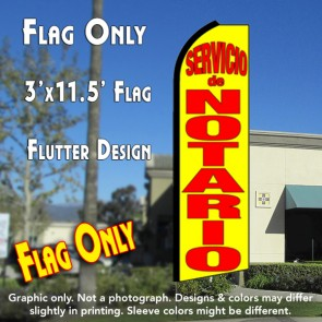 SERVICIO DE NOTARIO (Yellow) Flutter Feather Banner Flag (11.5 x 3 Feet)