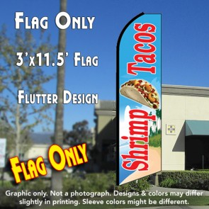 SHRIMP TACOS (Blue) Flutter Feather Banner Flag (11.5 x 3 Feet)