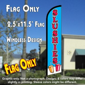 Slushies (Blue/Red) Windless Feather Banner Flag (2.5 x 11.5 Feet)