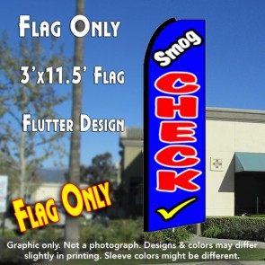 SMOG CHECK (Blue) Flutter Feather Banner Flag (11.5 x 3 Feet)