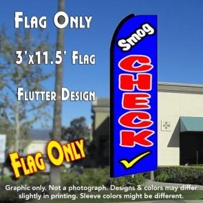 SMOG CHECK (Blue) Flutter Feather Banner Flag (11.5 x 3 Feet)