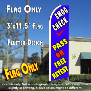 SMOG CHECK PASS OR FREE RETEST (Blue) Flutter Feather Banner Flag (11.5 x 3 Feet)