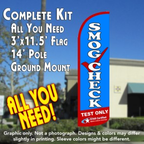 Smog Check Test Only Windless Feather Banner Flag Kit (Flag, Pole, & Ground Mt)