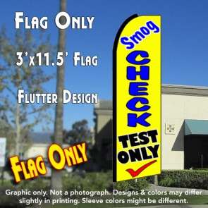 SMOG CHECK TEST ONLY (Yellow) Flutter Feather Banner Flag (11.5 x 3 Feet)