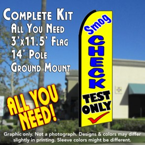SMOG CHECK TEST ONLY (Yellow) Flutter Feather Banner Flag Kit (Flag, Pole, & Ground Mt)