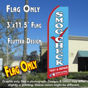 SMOG CHECK TEST & REPAIR (Star Certified) Flutter Feather Banner Flag (11.5 x 3 Feet)