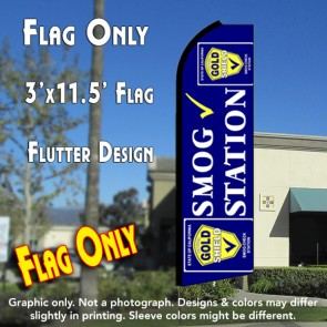 SMOG STATION (Gold Shield) Flutter Feather Banner Flag (11.5 x 3 Feet)