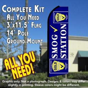 SMOG STATION (Gold Shield) Flutter Feather Banner Flag Kit (Flag, Pole, & Ground Mt)