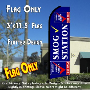 SMOG STATION (Test Only) Flutter Feather Banner Flag (11.5 x 3 Feet)