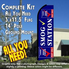 SMOG STATION (Test Only) Flutter Feather Banner Flag Kit (Flag, Pole, & Ground Mt)