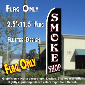 SMOKE SHOP (Black) Flutter Feather Banner Flag (11.5 x 2.5 Feet)
