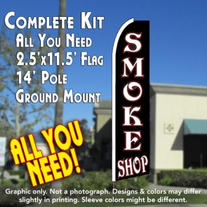 SMOKE SHOP (Black) Flutter Feather Banner Flag Kit (Flag, Pole, & Ground Mt)