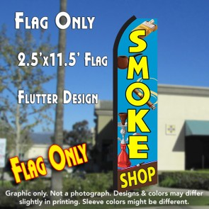 SMOKE SHOP (Blue/Yellow) Flutter Polyknit Feather Flag (11.5 x 2.5 feet)