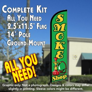 SMOKE SHOP (Green) Windless Feather Banner Flag Kit (Flag, Pole, & Ground Mt)