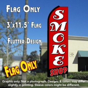 SMOKE SHOP (Red/Black) Flutter Feather Banner Flag (11.5 x 3 Feet)