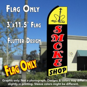 SMOKE SHOP (Yellow/Black) Flutter Feather Banner Flag (11.5 x 3 Feet)