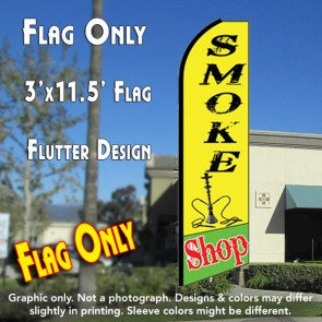 SMOKE SHOP (Yellow/Green) Flutter Feather Banner Flag (11.5 x 3 Feet)