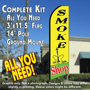 SMOKE SHOP (Yellow/Green) Flutter Feather Banner Flag Kit (Flag, Pole, & Ground Mt)