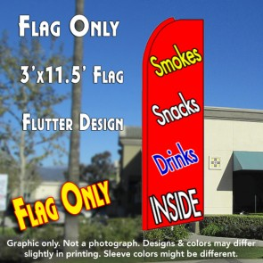 SMOKES SNACKS DRINKS (Red) Flutter Feather Banner Flag (11.5 x 3 Feet)