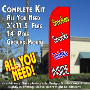 SMOKES SNACKS DRINKS (Red) Flutter Feather Banner Flag Kit (Flag, Pole, & Ground Mt)