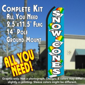 SNOW CONES (Blue/White) Flutter Feather Banner Flag Kit (Flag, Pole, & Ground Mt)