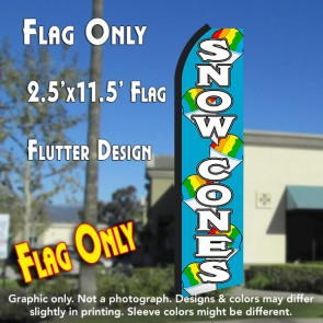 SNOW CONES (Blue/White) Flutter Polyknit Feather Flag (11.5 x 2.5 feet)