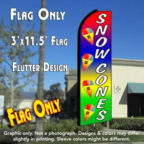 SNOW CONES (Multi-colored) Flutter Feather Banner Flag (11.5 x 3 Feet)