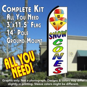 SNOW CONES (White) Flutter Feather Banner Flag Kit (Flag, Pole, & Ground Mt)