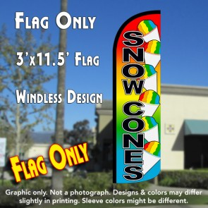 Snow Cones Windless Polyknit Feather Flag (3 x 11.5 feet)
