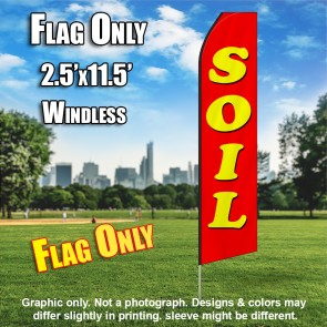SOIL red yellow flutter flag