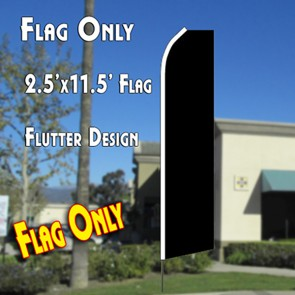 Solid Black Flutter Feather Banner Flag (11.5 x 2.5 Feet)