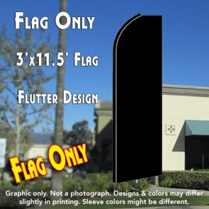 Solid BLACK Flutter Feather Banner Flag (11.5 x 3 Feet)