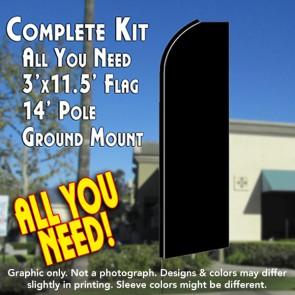 Solid BLACK Flutter Feather Banner Flag Kit (Flag, Pole, & Ground Mt)