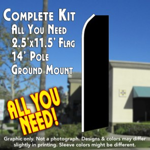 Solid Black Flutter Feather Banner Flag Kit (Flag, Pole, and Ground Mount)