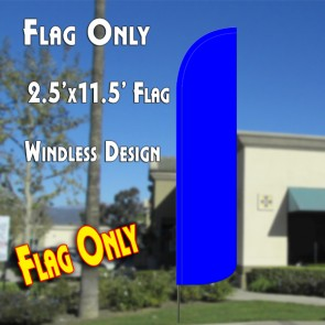 Solid BLUE Windless Polyknit Feather Flag (2.5 x 11.5 feet)