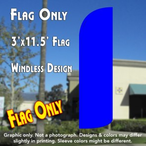 Solid Blue Windless Polyknit Feather Flag (3 x 11.5 feet)