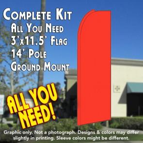 Solid BRIGHT ORANGE (Caution) Flutter Feather Banner Flag Kit (Flag, Pole, & Ground Mt)
