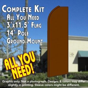 Solid BROWN Flutter Feather Banner Flag Kit (Flag, Pole, & Ground Mt)