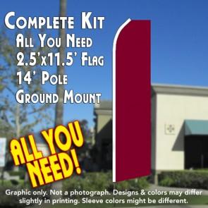 Solid BURGUNDY Flutter Feather Banner Flag Kit (Flag, Pole, and Ground Mount)