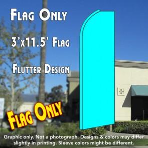 Solid CYAN (Light Blue) Flutter Feather Banner Flag (11.5 x 3 Feet)