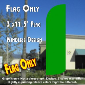 Solid Green Windless Polyknit Feather Flag (3 x 11.5 feet)
