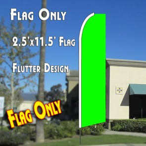 Solid LIME GREEN Flutter Feather Banner Flag (11.5 x 2.5 Feet)