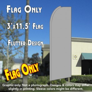 Solid METALLIC SILVER Flutter Feather Banner Flag (11.5 x 3 Feet)