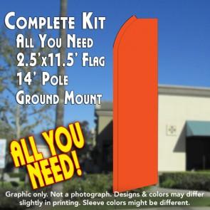 Solid ORANGE Flutter Feather Banner Flag Kit (Flag, Pole, & Ground Mt)