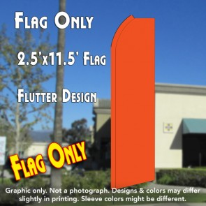 Solid ORANGE Flutter Polyknit Feather Flag (11.5 x 2.5 feet)