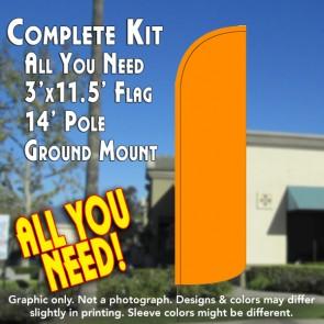 Solid Orange Windless Feather Banner Flag Kit (Flag, Pole, & Ground Mt)